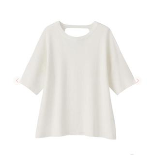 ココディール(COCO DEAL)のCOCO DEAL  ミラノリブTシャツライクニット バックシャン ホワイト 白(Tシャツ(半袖/袖なし))