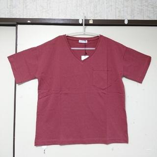 イーハイフンワールドギャラリー(E hyphen world gallery)の新品◆16/-OE天竺ポケット付きVネックTシャツ F 💝赤(Tシャツ(半袖/袖なし))
