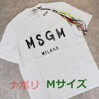 エムエスジイエム(MSGM)のMSGM メンズ ミラノ ロゴ ホワイト Tシャツ(Tシャツ/カットソー(半袖/袖なし))