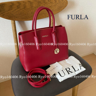 Furla - 美品⭐️63000円/フルラ/レザー 2wayハンドバッグ/斜め掛け可/レッド