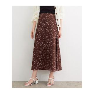 ViS - アソート柄ひもベルト付ロングスカート ドットスカート ブラウン 茶色