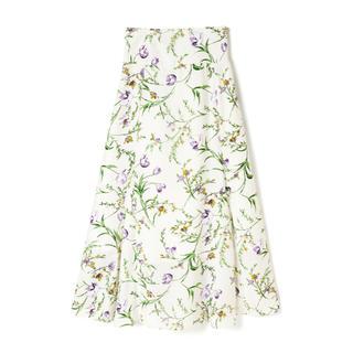 グレイル(GRL)のGRL フラワーフレアスカート ホワイト 新作 人気 韓国ファッション 花柄(ロングスカート)