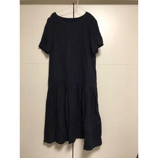 ネストローブ(nest Robe)のヤンマ産業 yamma 麻100%  ワンピース 濃紺(ひざ丈ワンピース)