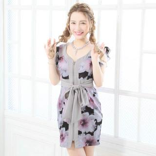 デイジーストア(dazzy store)のキャバドレス♡フロントジップ花柄タイトドレス(ナイトドレス)