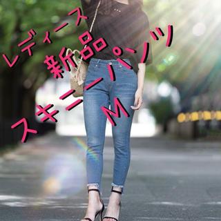 アナップ(ANAP)のレディース 裾フリンジイレギュラーヘムラインリメイク風デニムスキニーパンツ M(スキニーパンツ)