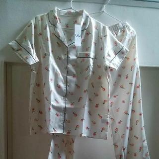 GU - GUパジャマ  半袖長ズボン  サテン アプリコット