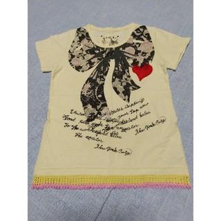スカラー(ScoLar)のスカラー 半袖Tシャツ リボン柄 ラメ ビーズ ハート スカル レディース(Tシャツ(半袖/袖なし))