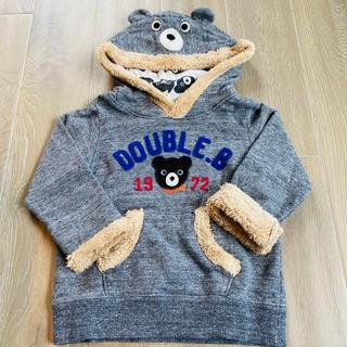 ダブルビー(DOUBLE.B)の【美品】ミキハウス ダブルビー なりきりトレーナー グレー 90 (Tシャツ/カットソー)