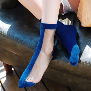 import bi color socks/ツートーンシースルーソックス