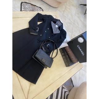 シャネル(CHANEL)の大変美品◆シャネルコート◆ブラック×ギンガムチェック(ロングコート)
