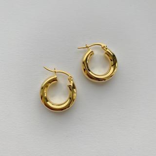 即納_Silver925,18kgp_ Ring hoop earrings