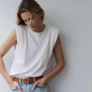 ZARA - ザラ ZARA ショルダーパッドTシャツ  ホワイト S