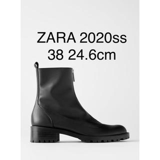 ザラ(ZARA)の新品 ZARA 2020ssトラックソール付き レザーアンクルブーツ 38完売品(ブーツ)