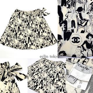 CHANEL - シャネル《マドモワゼル柄》ココ シルエット リボン装飾 スカート E2164