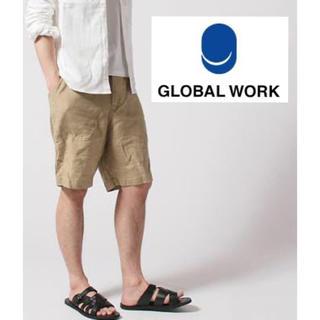 グローバルワーク(GLOBAL WORK)のリネンハーフパンツ ショートパンツ ベージュ(ショートパンツ)