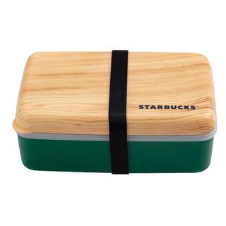 Starbucks Coffee - 【海外限定】STARBUCKS スタバ☆お弁当箱 木目調 バンド付