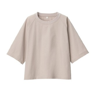 MUJI (無印良品) - 〓新品〓 無印良品インド綿洗いざらし布帛五分袖Tシャツ /M~L/ペールブラウン