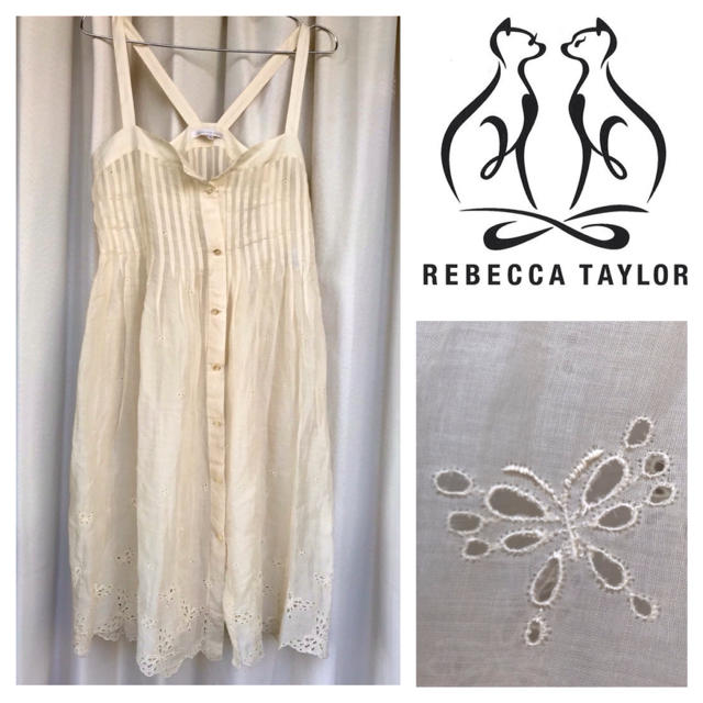 Rebecca Taylor(レベッカテイラー)のrebecca taylor  蝶刺繍 シアーワンピース サイズ2 レディースのワンピース(ひざ丈ワンピース)の商品写真