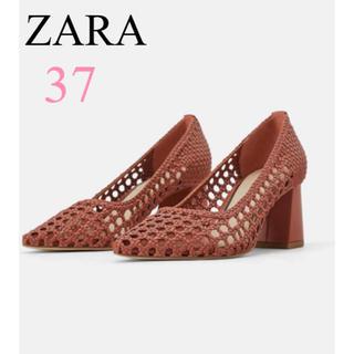 ZARA - ブロックヒール編み込みシューズ