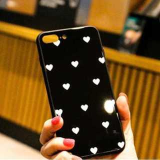 iPhone7,8,SEケース ハートドット柄 黒色白ハート