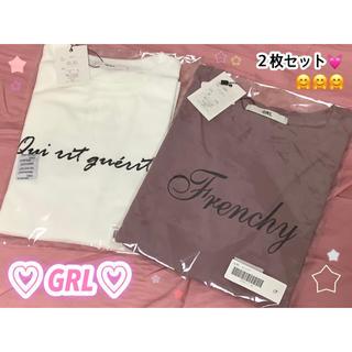 GRL - ♡GRL♡ オフホワイト*ピンク*カジュアル*シンプル*合わせやすい Tシャツ♩