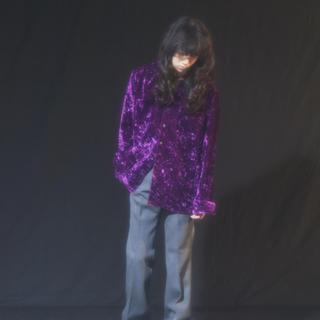 JOHN LAWRENCE SULLIVAN - LITTLEBIG Velour Open Collar シャツ パープル