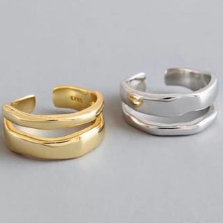 トゥデイフル(TODAYFUL)の二連デザインリング オープンリング 指輪 新品(リング(指輪))