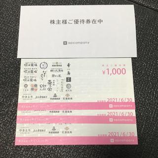 塚田農場 株主優待券 3000円分(レストラン/食事券)