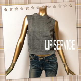 リップサービス(LIP SERVICE)の⭐️新品⭐️ LIP ♥ ハイネック ショート グレンチェック ノースリーブ(シャツ/ブラウス(半袖/袖なし))