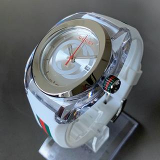 Gucci - 【新品】人気カラー●グッチ GUCCI メンズ 腕時計 ホワイト シェリーライン