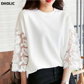 ディーホリック(dholic)のDHOLIC フラワーレーススリーブTシャツ 7分袖 ホワイトアイボリー(カットソー(長袖/七分))
