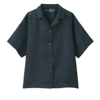 MUJI (無印良品) - 無印良品無印良品オーガニックリネン洗いざらし半袖開襟シャツ 婦人M~L・黒