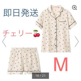 GU - 新品★GU  サテンパジャマ  チェリー  オフホワイト  M