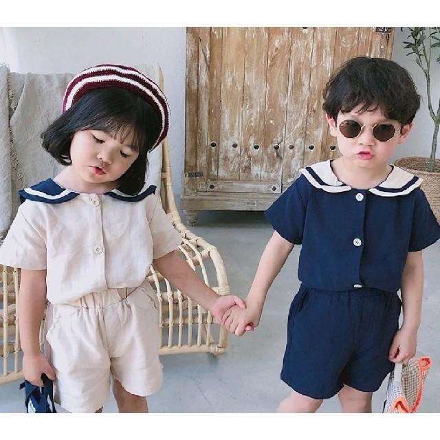 【週末値下げ】セール 韓国子供服 セーラー セットアップ 110 ベージュ キッズ/ベビー/マタニティのキッズ服女の子用(90cm~)(その他)の商品写真