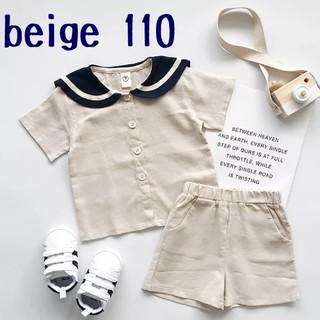 【大人気シリーズ】セール 韓国子供服 セーラー セットアップ 110 ベージュ