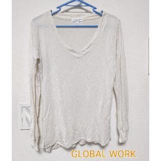 グローバルワーク(GLOBAL WORK)の【GLOBAL WORK】Vネックカットソー☆Tシャツ☆Mサイズ☆送料込み(Tシャツ(長袖/七分))