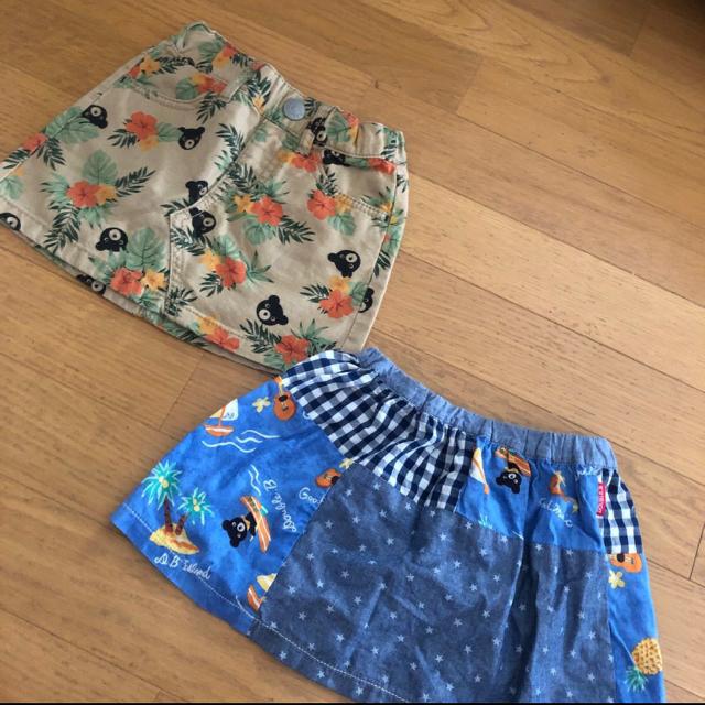 DOUBLE.B(ダブルビー)の【美品】ダブルビー スカート2枚組SSサイズ キッズ/ベビー/マタニティのキッズ服女の子用(90cm~)(スカート)の商品写真