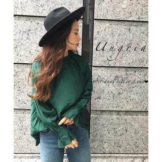 Ungrid - Ungrid スリーブボリュームデザインシャツ ハイネック サテン