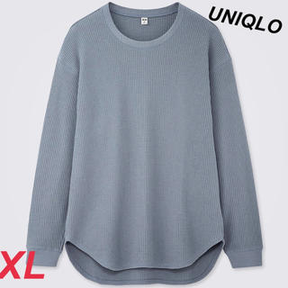 UNIQLO - UNIQLO レディース ワッフルオーバーサイズクルーネックT ブルー XL