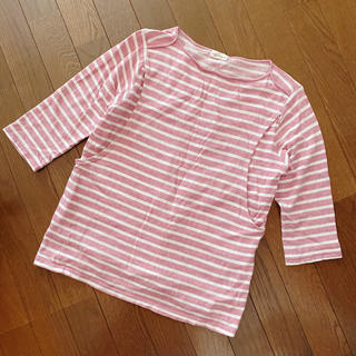 モーハウス(Mo-House)のMizun様専用 Mo-House ピンク ボーダー 授乳 ロングTシャツ(マタニティトップス)