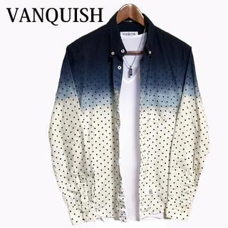 VANQUISH - VANQUISH グラデーションシャツ ドットシャツ 水玉シャツ 青 紺色 白