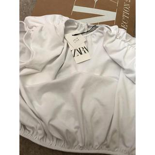 ZARA - 新品●ザラ●zara●ショルダーパッドTシャツ.ホワイト.L