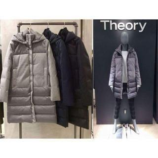 セオリー(theory)のtheory フード付 切替ダウンコート ウール×ナイロン ネイビー S(ダウンコート)