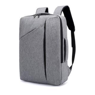 リュックサック【グレー】ノートPC収容可&USB差し込み付 ビジネスバッグ
