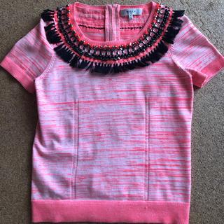 ミリー(Milly)のMILLY ビジューフリンジ付トップス ピンク(カットソー(半袖/袖なし))