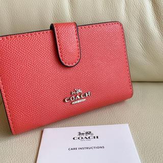 COACH - ✯新品✯ COACH コーチ 二つ 折り財布 かわいい オレンジピンク♪