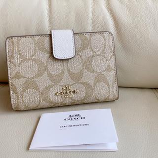 COACH - ✯新品✯ COACH コーチ 二つ 折り財布 かわいい ホワイト シグネチャー♪