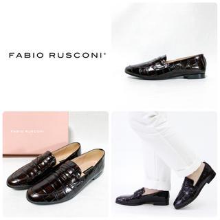 ファビオルスコーニ(FABIO RUSCONI)の■美品 定3万 ファビオルスコーニ ローファー 37 23.5 パンプス クロコ(ローファー/革靴)