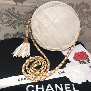 CHANEL - レア‼︎CHANELマトラッセ♡ラウンド♡丸型♡ホワイト♡フリンジ 正規品 本物