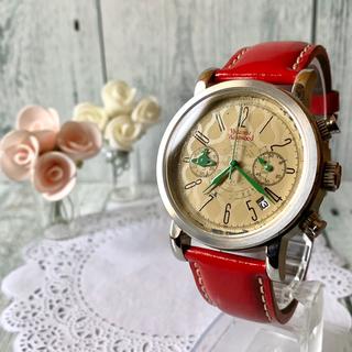 ヴィヴィアンウエストウッド(Vivienne Westwood)の【美品】vivienne ヴィヴィアン 腕時計 ダメージ スクイグル レッド(腕時計(アナログ))